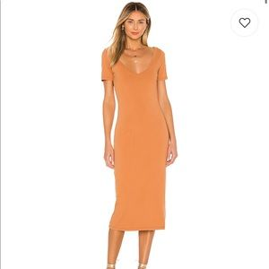 Teagan Midi Dress in Sunset Tan brand new with tag